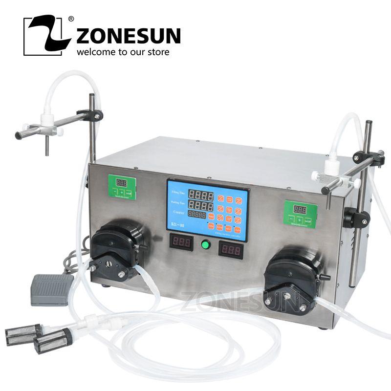 ZONESUN 2 Köpfe Parfüm Wasser Saft Ätherisches Öl Elektrische Digital Control Schlauchpumpe Flüssige Füll Maschine 3-2500 ml