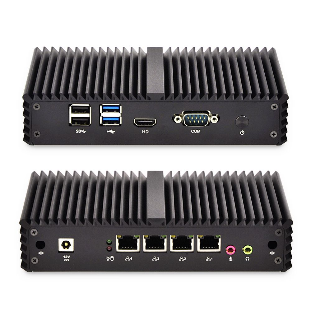 4*Gigabit Ethernet RJ-45 Lan Ports Mini PC Routers i5 i7 security AES-NI Fanless Qotom Pfsense Firewall