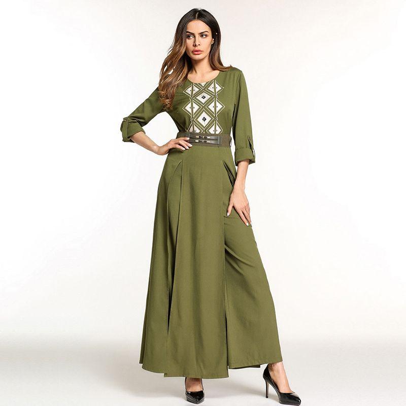 Elegant Embroidery Muslim Abaya Jumpsuit Full Dress Skirt Kimono Long Robe Gowns Jubah Middle East Arab Islamic Prayer Clothing