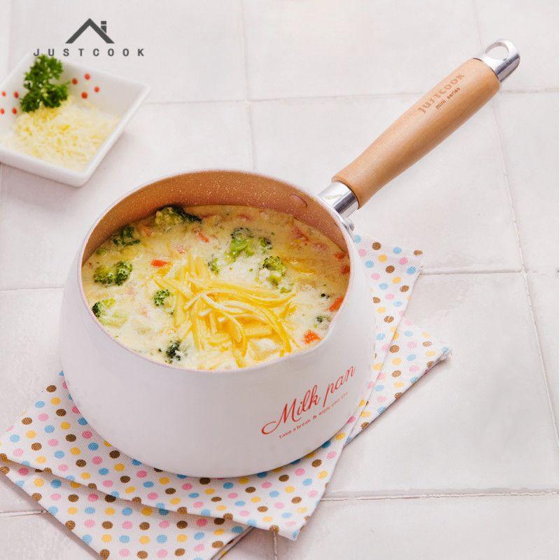 Justcook 16 CM Utile Ne-Bâton Pot Mini Casseroles Lait Chocolat lait Soupe Pot de Chauffage Usage Général pour le Gaz et Induction cuisinière