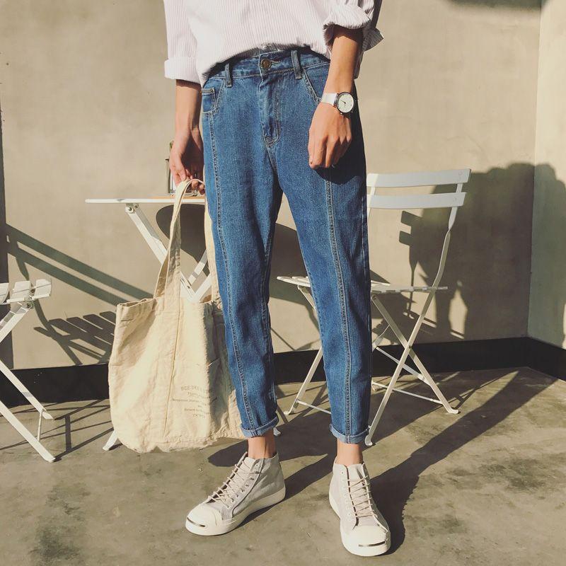 New Fashion Men Casual blue Harem Jeans Slim in Straight High-quality Elastic Waist Jeans Long Trousers Denim pencil Pants 34/33