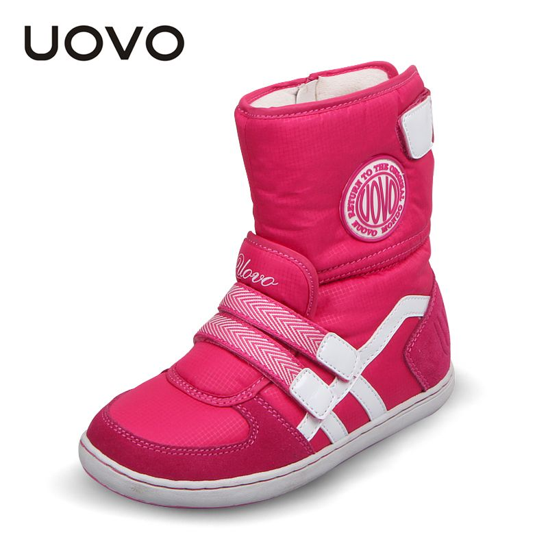 HOT UOVO Brand Kids Shoes Winter Boots For <font><b>Girls</b></font> And Boys Fashion Baby Snow Boots Warm Beatiful <font><b>Girls</b></font> Short Boots Size 26#-37#