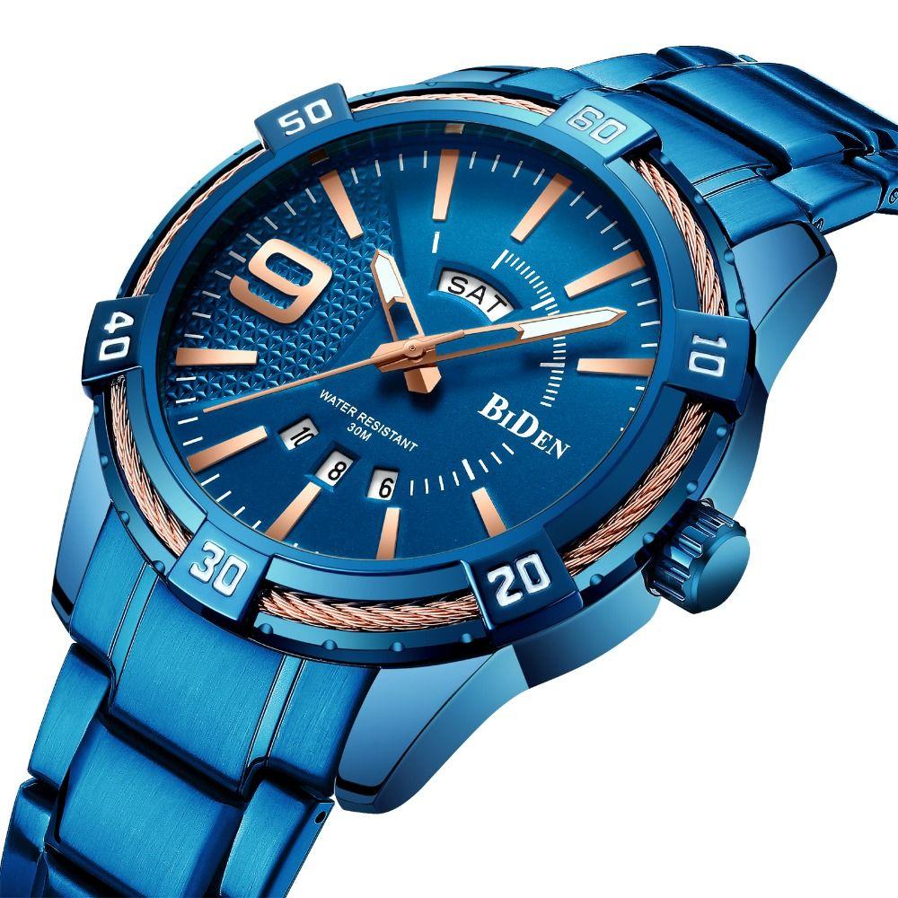 2019 Men Fashion Quartz Watch Blue Stainless Steel Strap Date Week Display Casual Mens Watches Top Brand Luxury Analog Clock