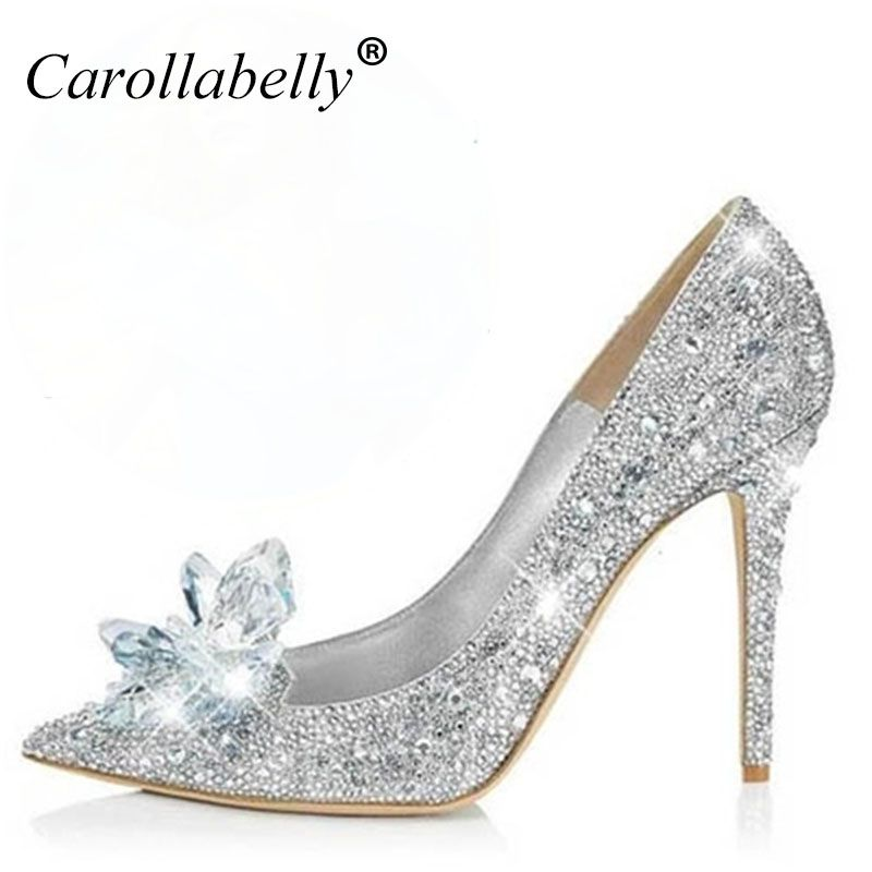 2018 New Glitter Rhinestone High Heels Cinderella Shoes Women Pumps Pointed toe Woman Crystal Wedding Shoes Zapatos Mujer
