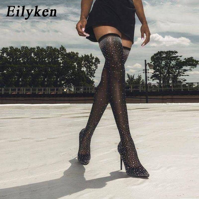 Eilyken 2019 Mode Piste Cristal Stretch Tissu Chaussette Bottes Bout Pointu Over-the-Genou Talon Cuissardes Pointu orteil bottes pour femme