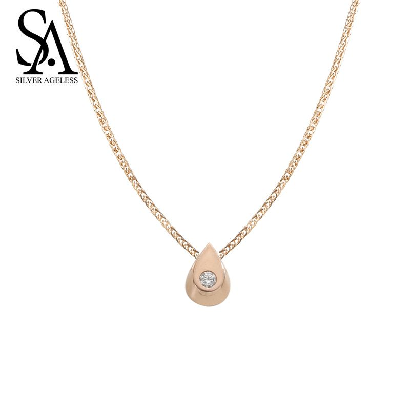 SILVER AGELESS Necklaces Pendants Fashion Party Ketting 14k Rose Raindrop Chain Necklace For Women Fine Jewelry New Arrival