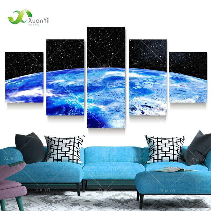 5 Panel Painting Cosmos Pictures Space Canvas Art Blue Earth Painting Universe Wall Picture For Living Room Starry Sky Pictures