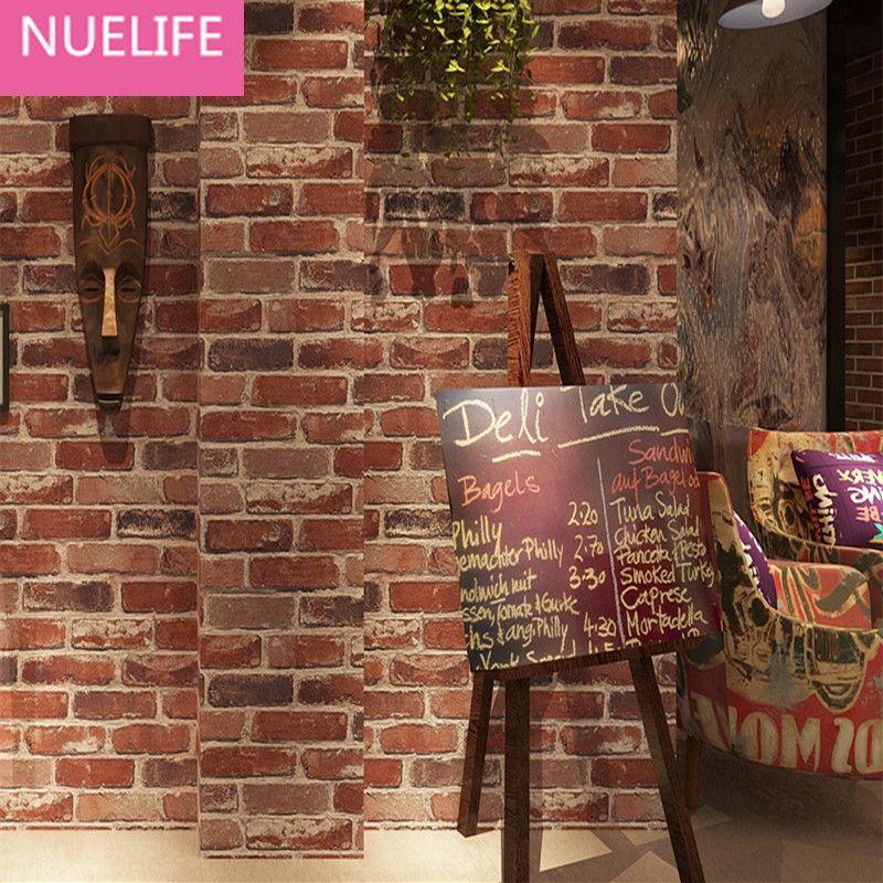 0.53x10 метров ретро ностальгические 3D стерео кирпич обои кафе-бар ресторан камень культуры красный кирпич обои