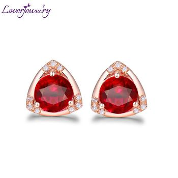 Triilion Shape Elegant Natural Ruby Engagement Stud Earring Solid 18K Rose Gold Promised  Diamond Jewelry for Wife Anniversary