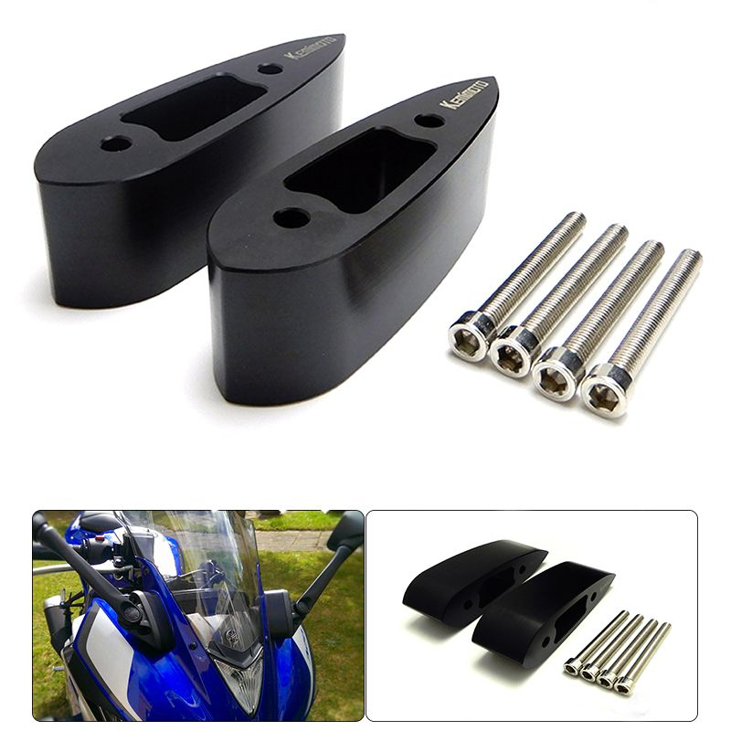 YZF R25 R3 Motorcycle Mirror Riser Extenders Extension Adaptor Kit for Yamaha YZF-R3 YZF-R25 2014 2015 2016 2017 1.25
