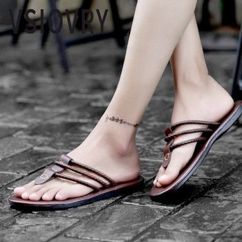 VSIOVRY Fashion Men Flip Flops Leather Beach Shoes 2018 New Summer Shoes Outdoor Dual Use Slippers Flat Heels For Male Sandalias