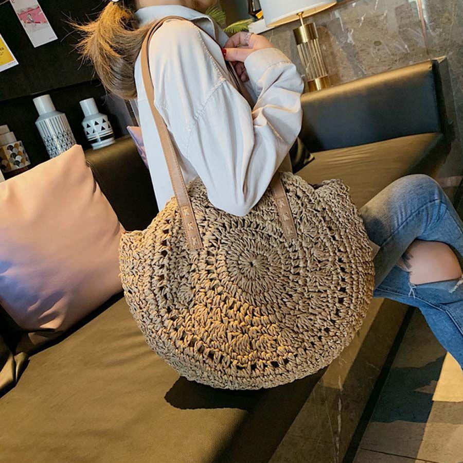 Décontracté rotin femmes sacs à bandoulière cercle paille sacs à main grande capacité Handmae été Totes dame ronde bohème plage Treval Sac