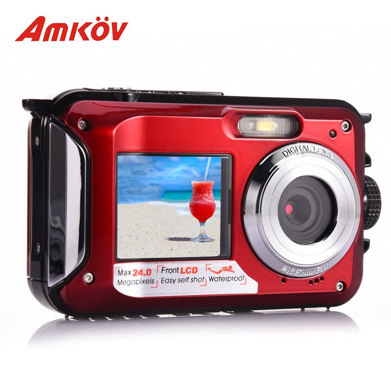 AMKOV W599 Professional 24 MP Life Waterproof Digital Camera With Front & Rear Dual-screen Self-timer Pocket Camera Mini Camera