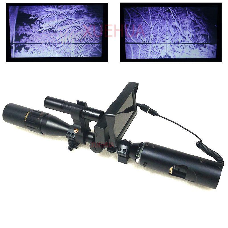 Hot nouvelle optique de chasse en plein air vue lunette de visée illuminée tactique portée de fusil vision nocturne avec LCD et lampe de poche IR