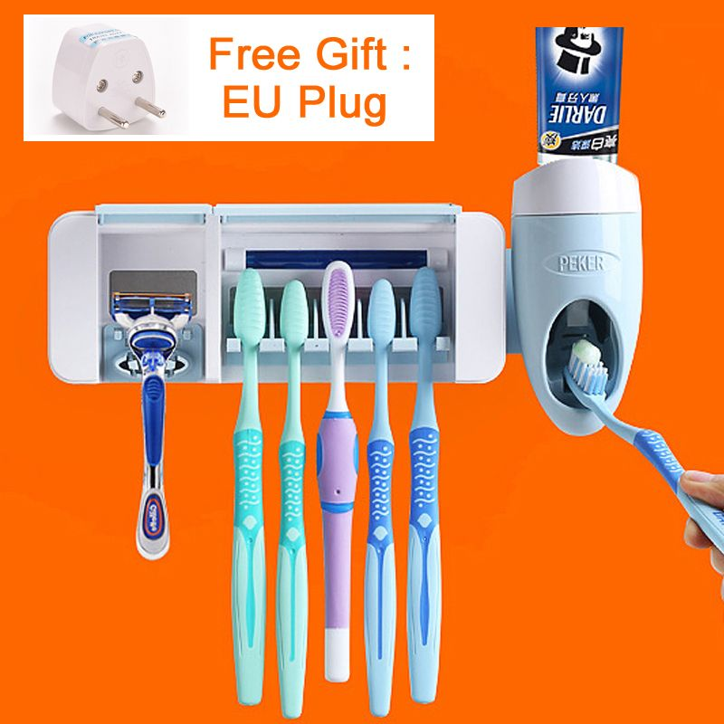 UV Light Ultraviolet Toothbrush Sterilizer Shaver Toothbrush Holder Automatic Toothpaste Squeezers Dispenser Home Bathroom Set