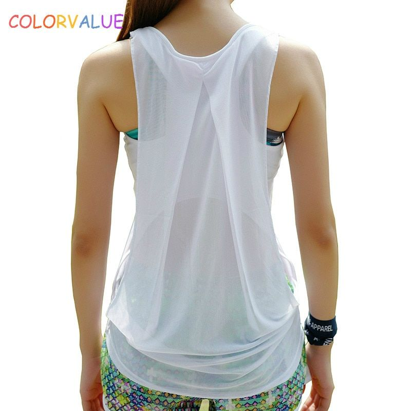 Colorvalue Back Patchwork Mesh Yoga Top Women Quick Dry Slim Sport Fitness Tank Tops O-neck Jogging Workout Vest Activewear