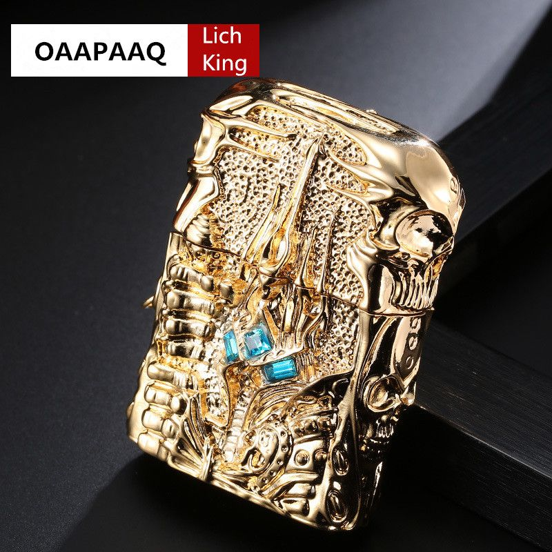 Pure Copper Lighter Men Gadgets World of Warcraft Kerosene Oil The Lich King Relief Lighter Kerosene Cigarette Retro Tobacco
