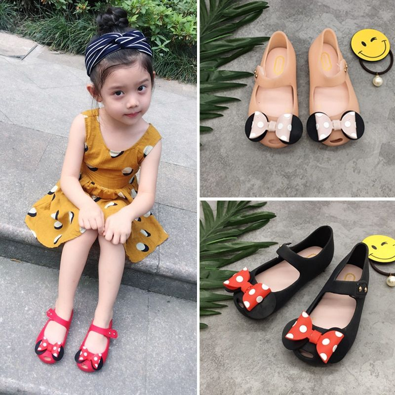 Mini Melissa filles gelée sandales Mickey Bow été enfants maille trou filles respirant gelée chaussures filles sandales chaussures 14-16.5 CM