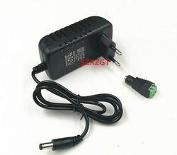 1 PCS 24 W UE US Plug Pilote Adaptateur AC110V 220 V à DC 12 V 2A 5.5*2.1mm LED Alimentation + 1 pcs Connecteur Femelle Pour LED bande
