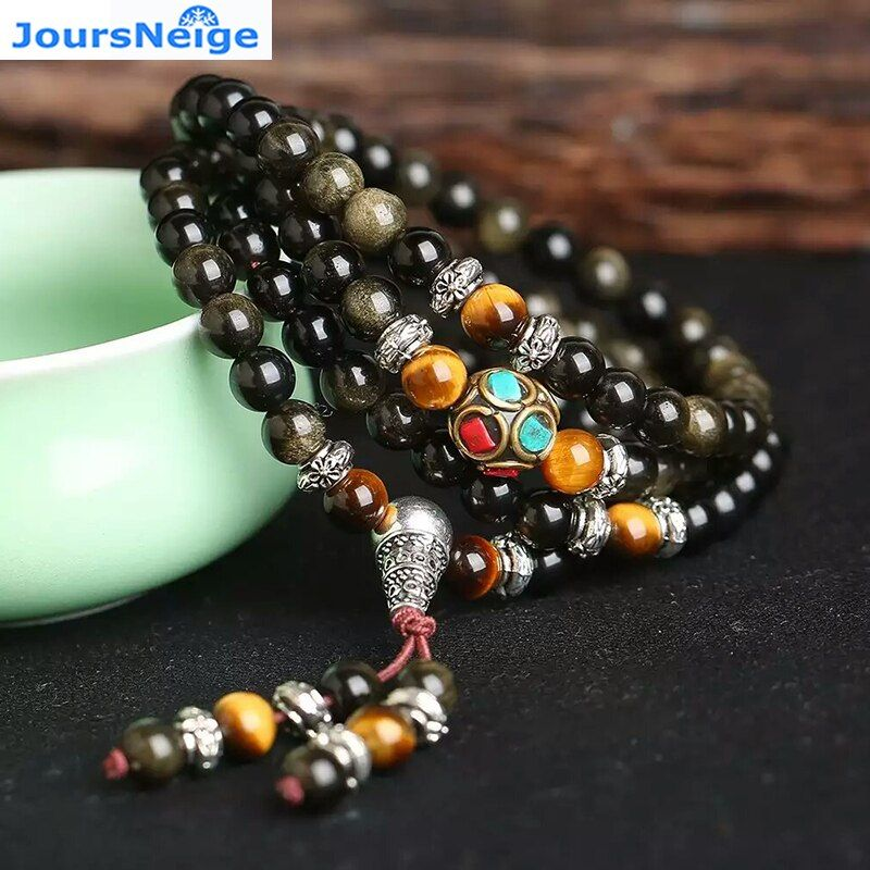 JoursNeige Natural Gold Obsidian Stone Bracelets 6mm 108 Beads with Tiger Eye Stone for Lover Men Women Crystal Bracelet Jewelry