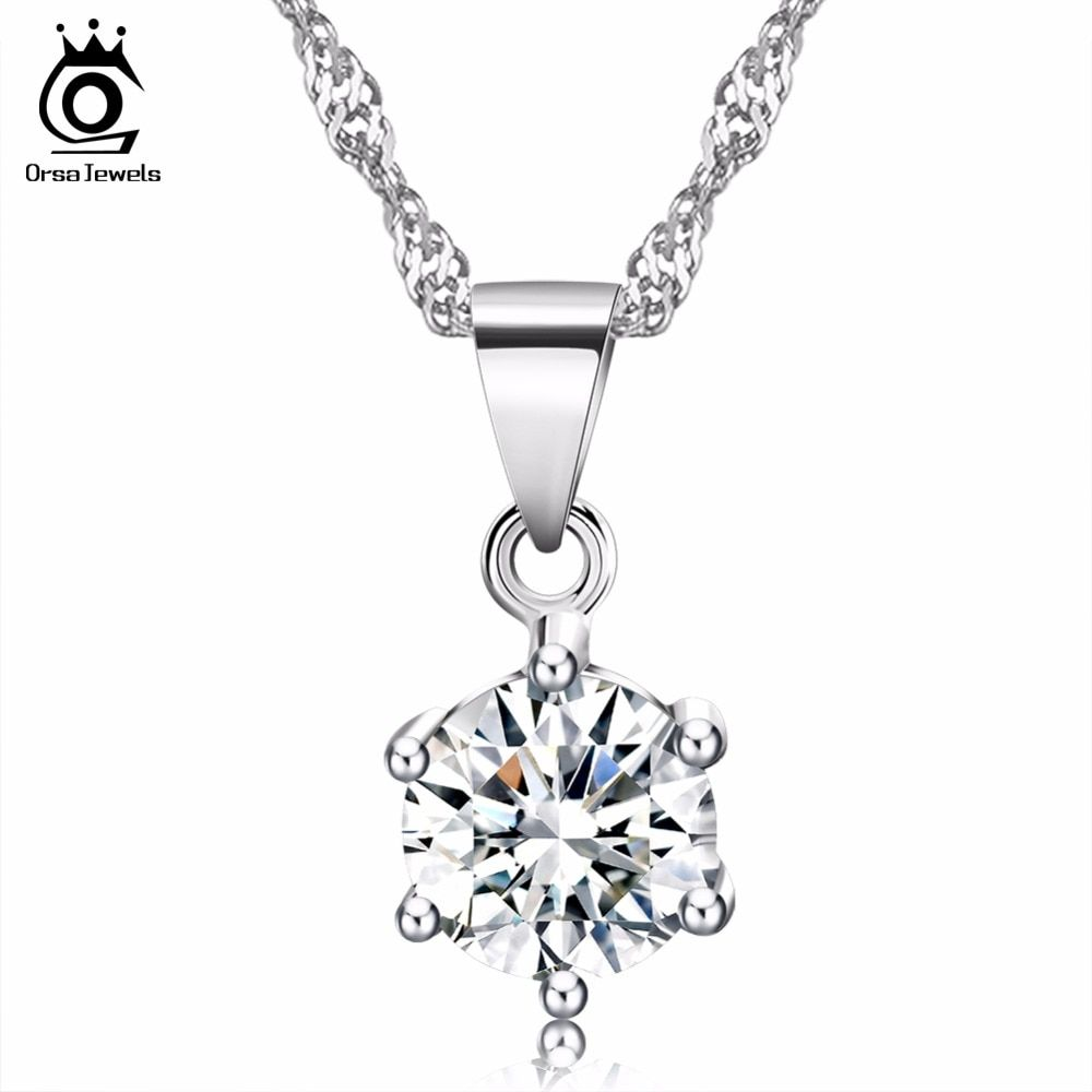 ORSA JEWELS Elegant Ladies Silver Necklace with Luxury 2ct CZ Crystal Pendant for Women 2018 Popular Wedding Accessories ON03