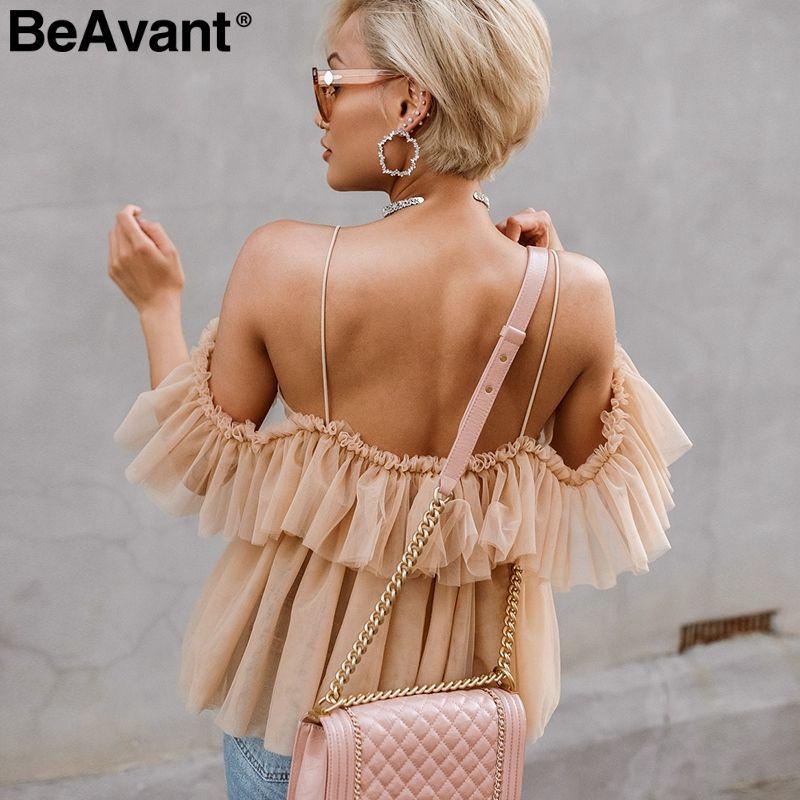 BeAvant épaule dénudée femmes hauts et chemisiers été 2019 dos nu sexy peplum top femme Vintage à volants maille blouse chemise blusas