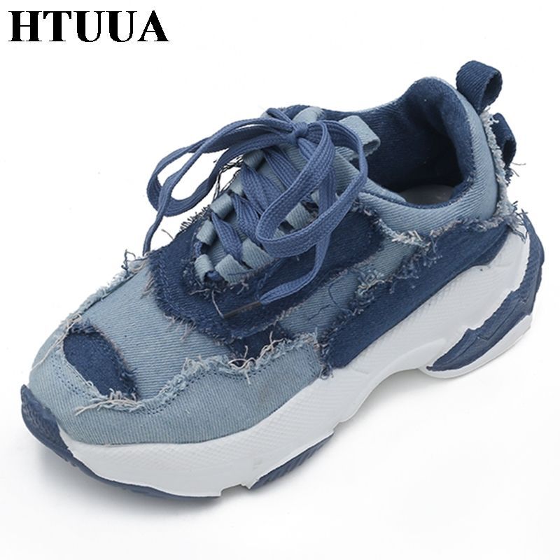 HTUUA 2018 Autumn Blue Denim Casual Shoes Women Creepers Platform Shoes Woman Sneakers Espadrilles Ladies Trainers femme SX1535