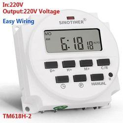 SINOTIMER TM618H-2 220 V AC Numérique Temps Commutateur Sortie Tension 220 V 7 Jour Hebdomadaire Programmable Minuterie Interrupteur de Phares Application
