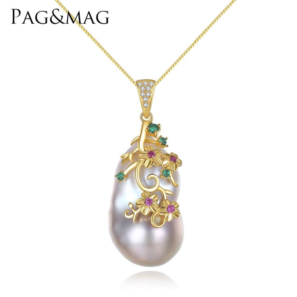PAG & MAG Marke spezial-förmigen Barock Großen Natürliche Perle Anhänger Frauen Halskette Sterling Silber Kette Jede Perle Unterschied