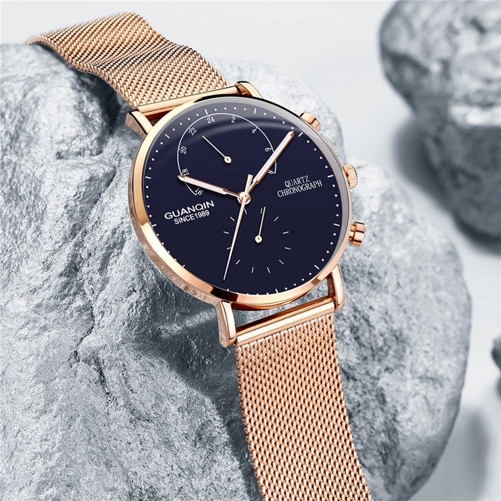 GUANQIN Mens Watches Top Brand Chronograph Luminous Clock Luxury Men Business Creative Mesh Strap Quartz Watch relogio masculino