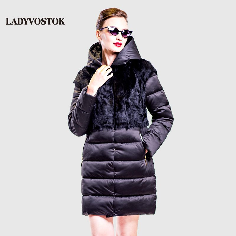 LADYVOSTOK hooded Casual Coat down Woman coat Fashionable winter jacket Long wool Handy Removable Real fur 16-758A