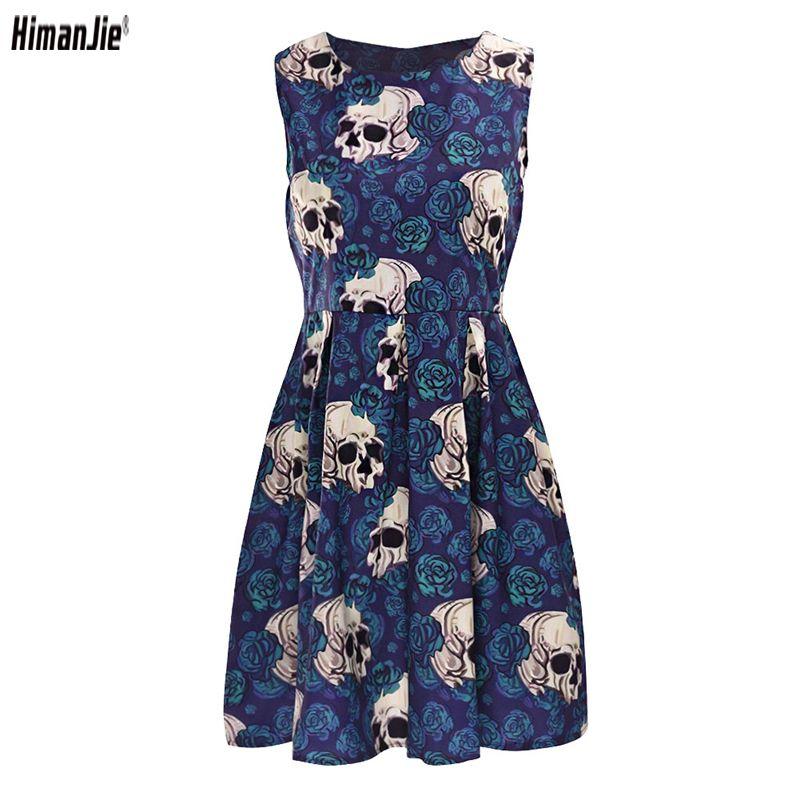 2018 Summer Skull Roses Party Dress for Female Rockabilly Vintage <font><b>Retro</b></font> Hepburn 50's 60s Women's Dresses Clothes