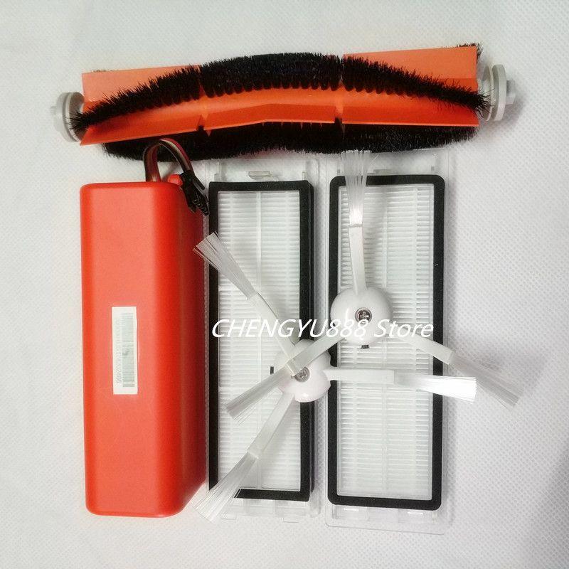 Original 14.4V5200mAh staubsauger akku + 1 * rollbürste + 2 * filter + 2 * seitenbürste Geeignet für xiaomi mi roboter xiaomi roboter