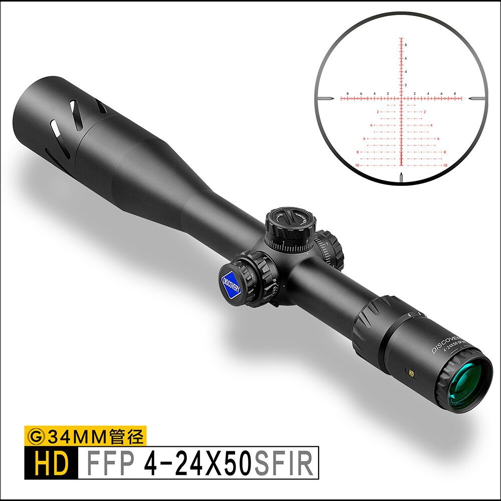 Discovery HD 4-24X50SFIR FFP Long Range Shooting Tactical Shooting 34mm Tube First Focal Plane Rifle Scope extended sunshade