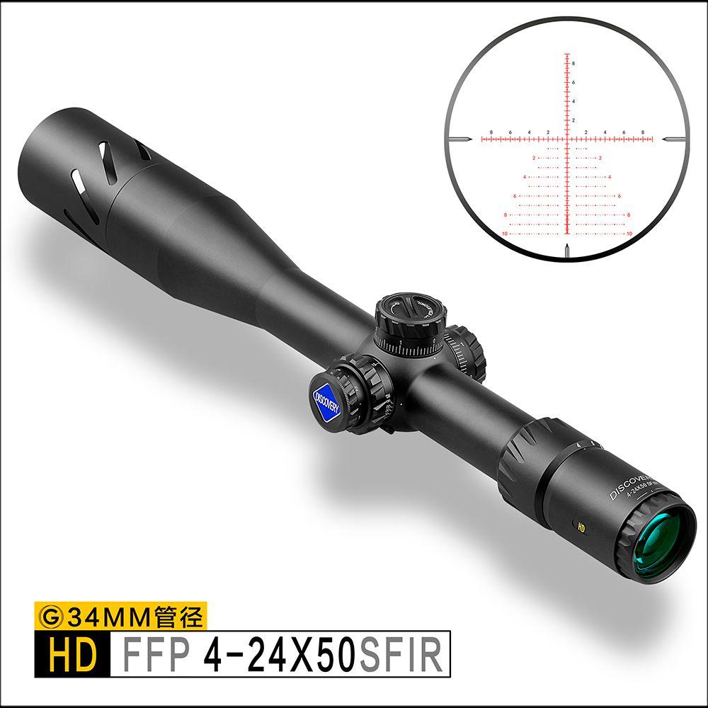 Entdeckung HD 4-24X50SFIR FFP Long Range Schießen Tactical Shooting 34mm Rohr Zuerst Brennebene Zielfernrohr erweiterte sonnenschirm