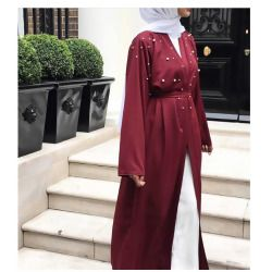 Muslim Dresses With Pearl Dubai Abaya Kimono Cardigan Plus Size Robe Casual Kaftan Maxi Dress Soft Long Women Clothing #D436