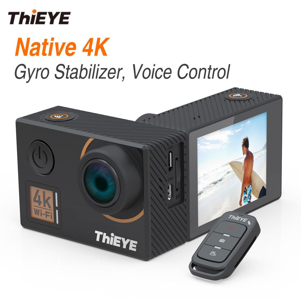 ThiEYE T5 Edge With Live Stream Real 4K Ultra HD Action Camera with Gyro Stabilizer, Voice Control Waterproof Sports Camera