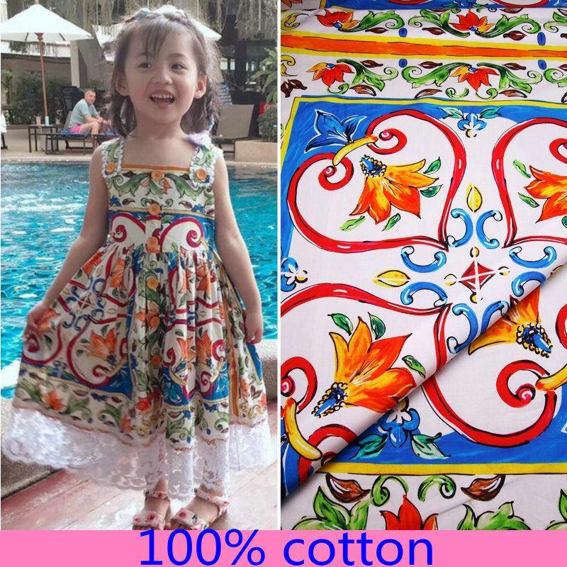multicoloured majolica printed cotton fabric,sicilian cotton poplin fabric for women kids dress patchwork DIY clothing tissus