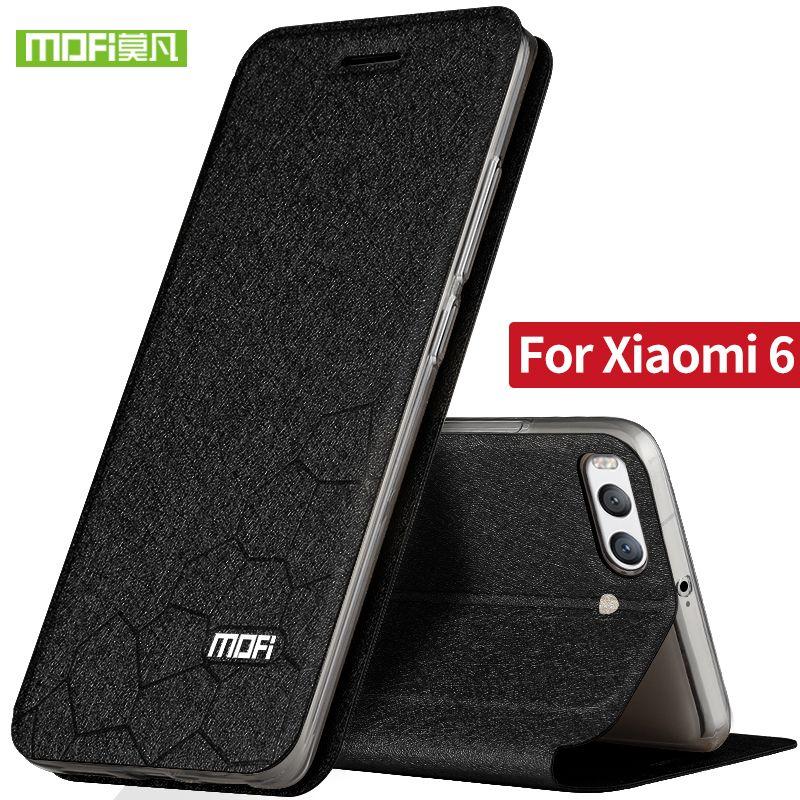 Xiaomi Mi6 silicon cover case flip en cuir d'origine Mofi Xiaomi Mi 6 cas de luxe armure mat antichoc Xiomi cas du mi6 fundas
