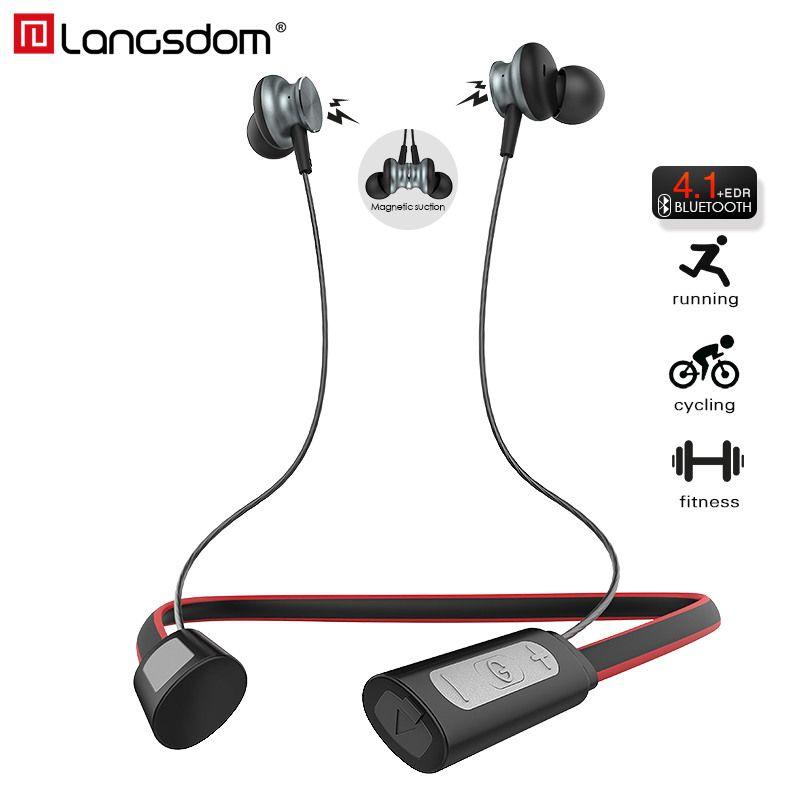 Langsdom L9 Neckband Sport Bluetooth Earphone for Phone Waterproof Bluetooth Headset with Mic Wireless Earphones fone de ouvido