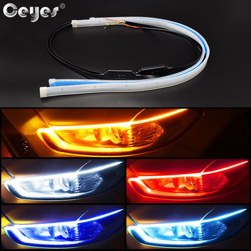 Ceyes 2pcs Auto Lamps For Cars DRL LED Daytime Running Lights Car Styling Accessories Turn Signal Guide Strip Headlight Assembly
