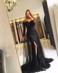 Schwarz Muslimischen Abendkleider 2019 Meerjungfrau 3/4 Ärmeln Spitze Perlen Slit Islamischen Dubai Kaftan Saudi Arabisch Lange Abendkleid