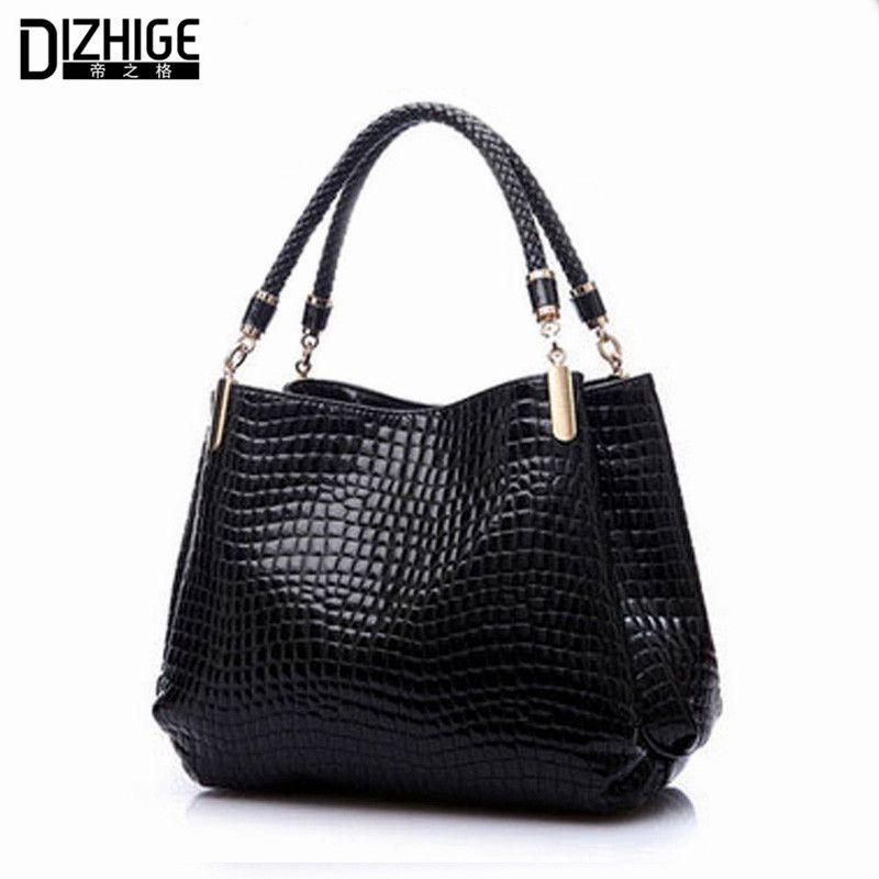 2018 Alligator Leather Women Handbag Bolsas De Couro Fashion Famous Brands Shoulder Bag Black Bag Ladies Bolsas Femininas Sac