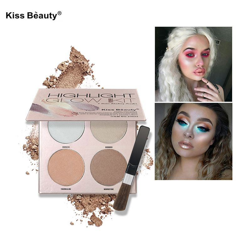 brand makeup Glow Kit Highlighter Palette with brush Face Contour Set 4 Color Powder Highlight Golden Bronzer GlowKit powder