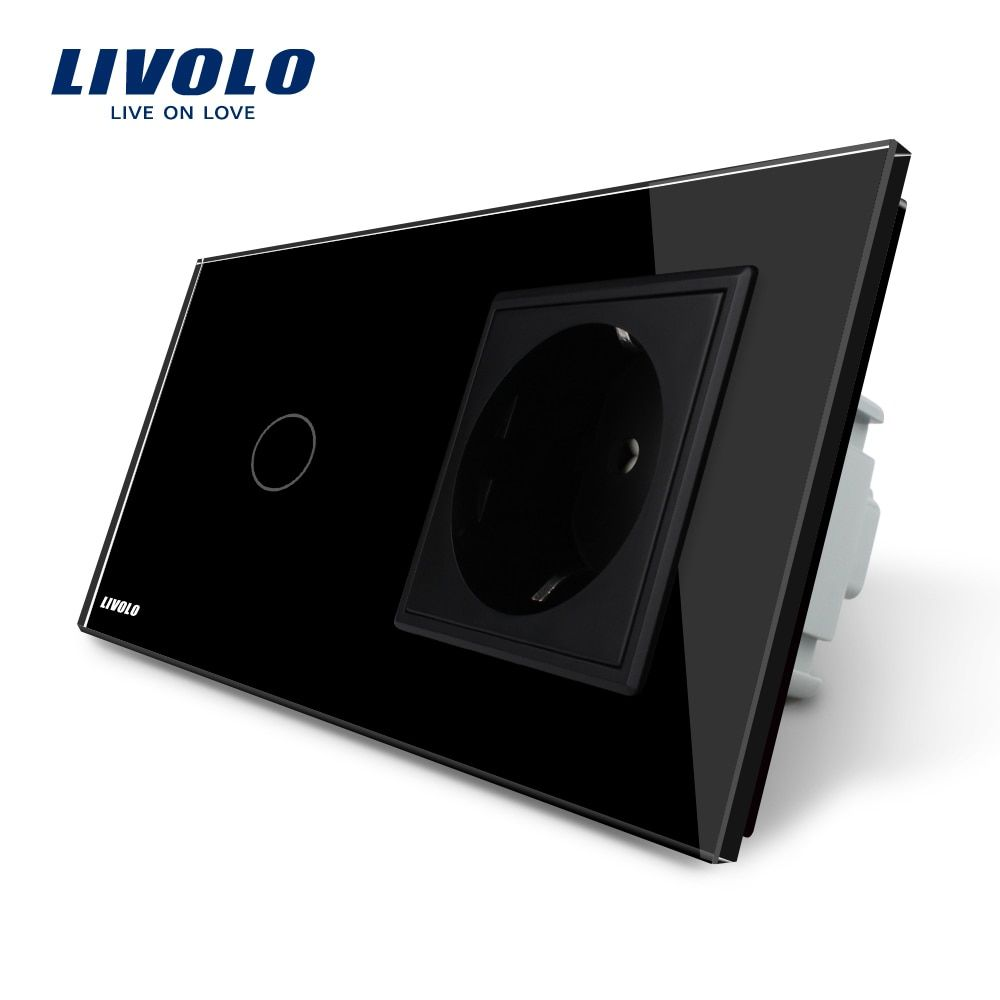 Livolo Touch Switch with EU Standard Socket ,AC 220~250V, Black Crystal Glass Panel, 16A EU Socket, VL-C701-12 / VL-C7C1EU-12