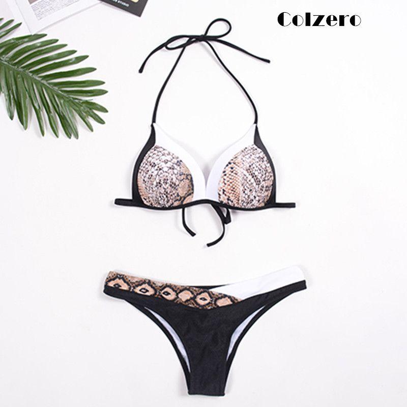 2019 Snake Printed Women Bikini Set Push up Patchwork Bandeau Swimsuit Sexy Female Swimwear Bandage Strappy Biquini Beachwear