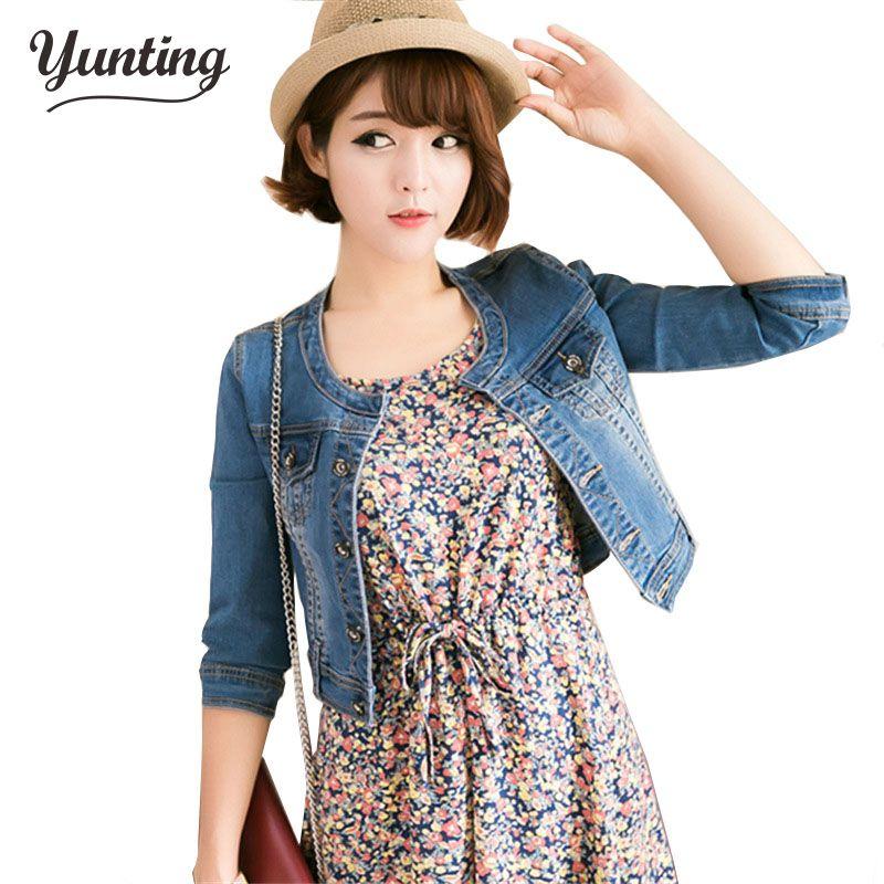 Nouveauté printemps/Antumn court denim vestes vintage décontracté manteau femmes denim veste pour vêtements d'extérieur jeans femme grande taille 2XL