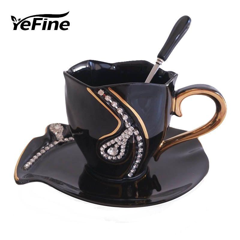 YEFINE Diamonds Design Coffee Mug Creative Gift <font><b>Lovers</b></font> Tea Cups 3D Ceramic Mugs With Rhinestones Decoration Cups And Saucers