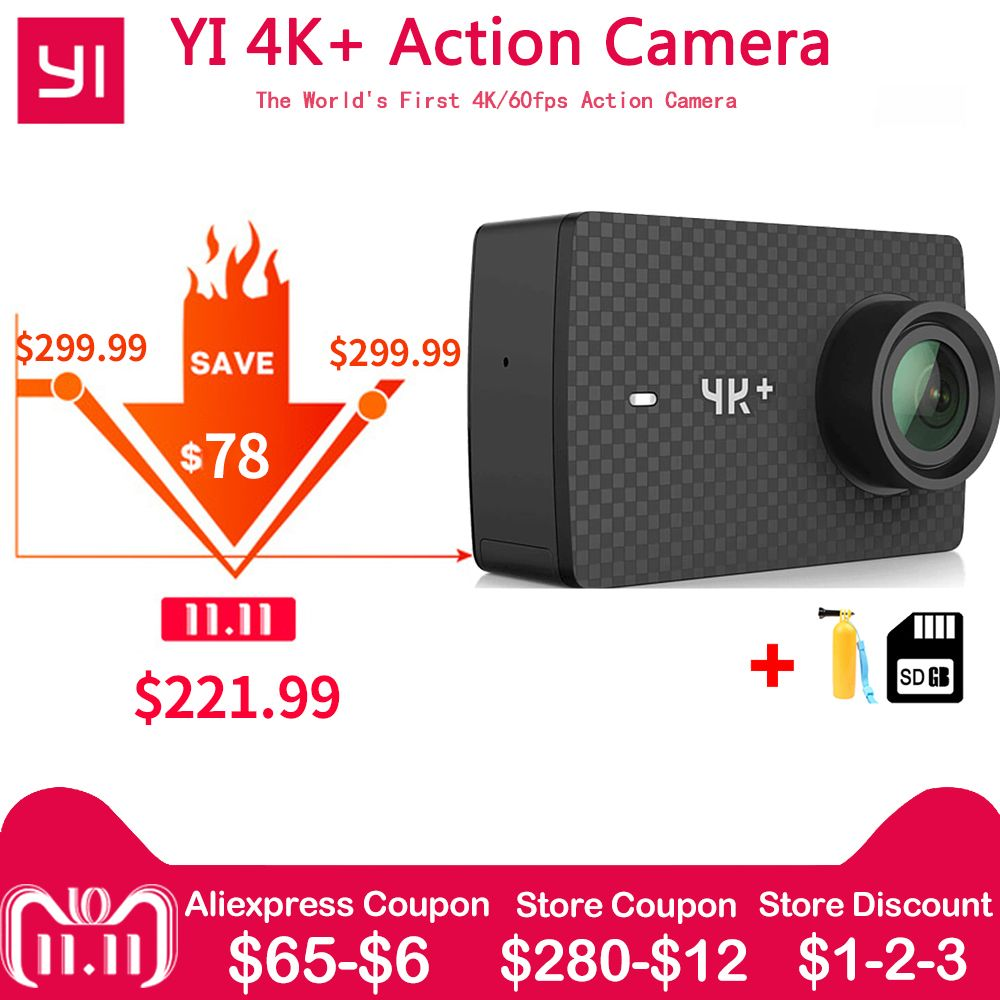 IN Stock Xiaomi YI 4K+ Plus Action Camera FIRST 4K/60fps Amba H2 SOC Cortex-A53 IMX377 12MP CMOS 2.2