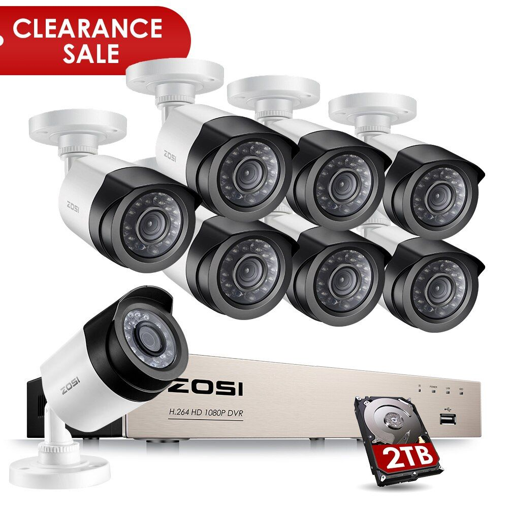 ZOSI HD-TVI 8CH 1080P Security Cameras System Kit with 8*2.0MP Day Night Vision CCTV Home Security Camera Video Surveillance